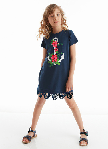 Mushi Çiçekli Çapa Kız Elbise Lacivert